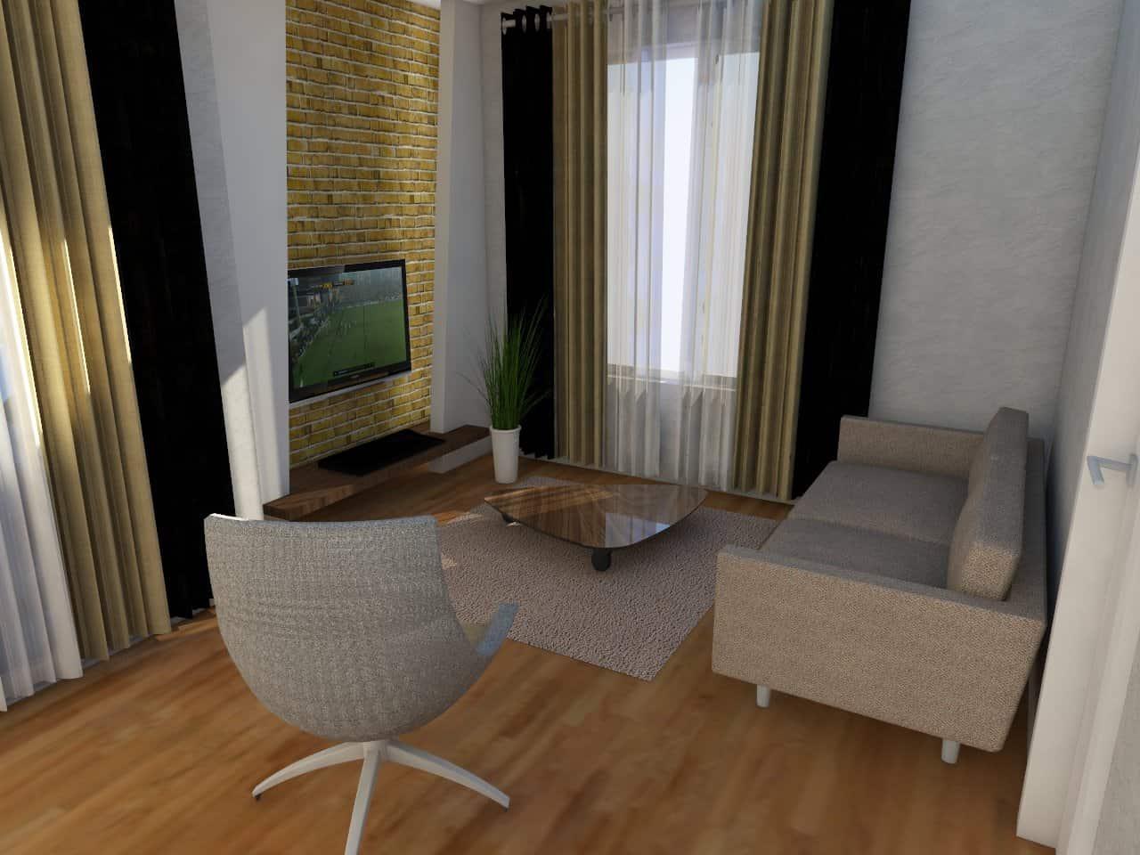 Egy kis lakás nappalija