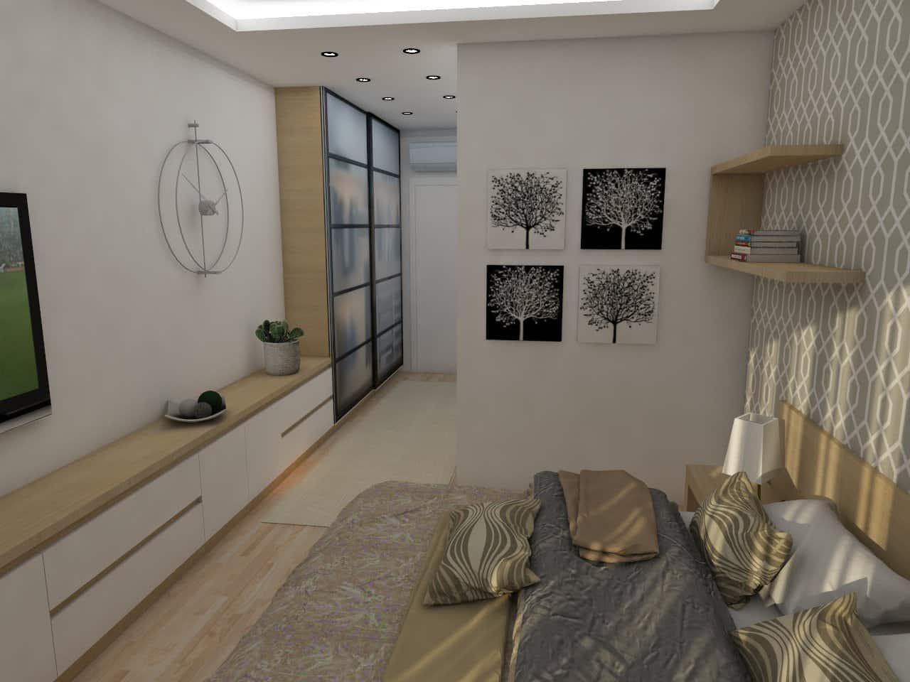 Hálószoba egy különleges szekrény kombinációval